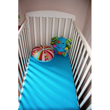 Drap-Housse lit bébé 100% Coton extensible Turquoise