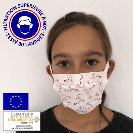 Masque réutilisable petite taille UNS 1 - Motif flamants - Lot de 2