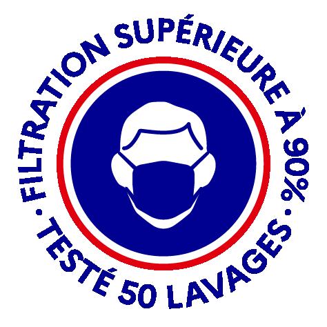 Logo masque grand public filtration supérieure à 90%, testé 50 lavages.