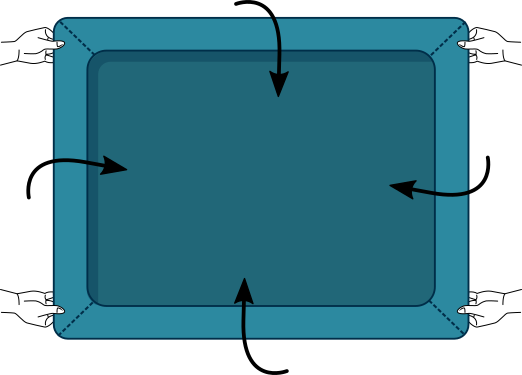 Plier un drap housse à deux : Etape 2 à 2